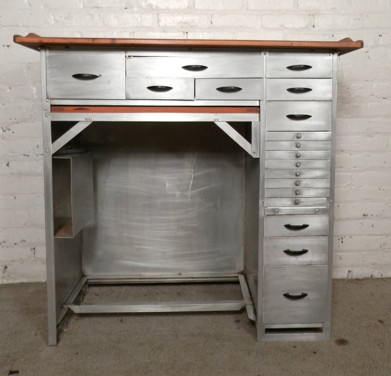 Impressive Metal Desk With Numerous Drawers Used Originally For Watch Making Finished Wood Top