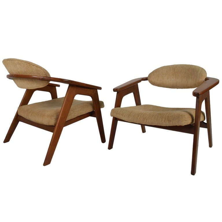 Pair Of Vintage Accent Chairs By Adrian Pearsall For Sale