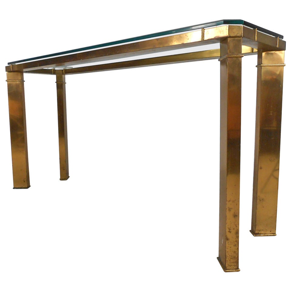 Unique mid century modern brass and glass console table by mastercraft