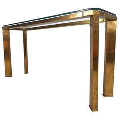 Elegant Brass and Glass Console Table by Mastercraft