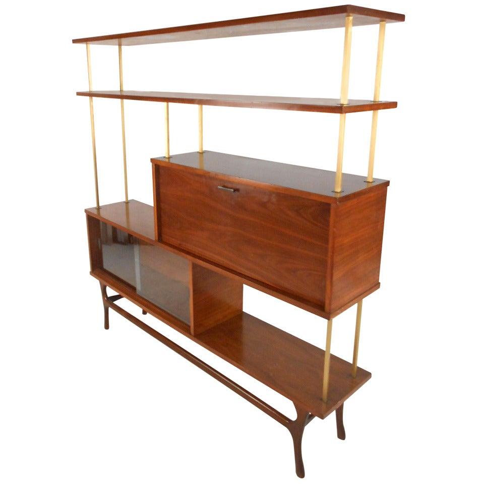 Unique mid century modern walnut wall unit room divider for Modern wall bar unit