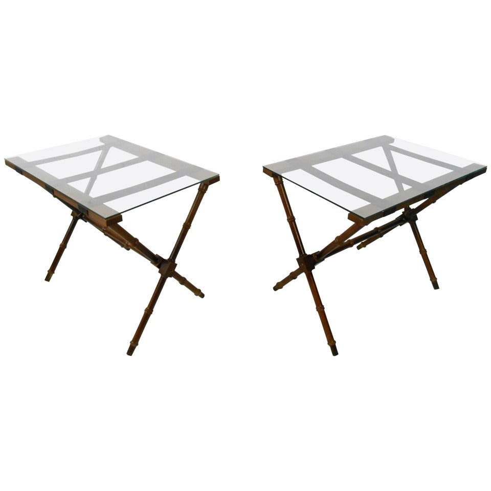 Pair Mid-Century Modern Glass Top Folding Serving Tables