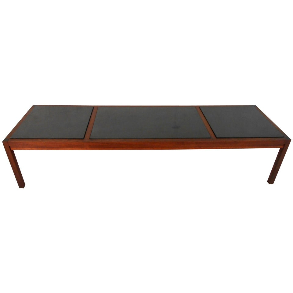 Unique mid century modern tile top walnut cocktail table for Cocktail tables for sale in kzn
