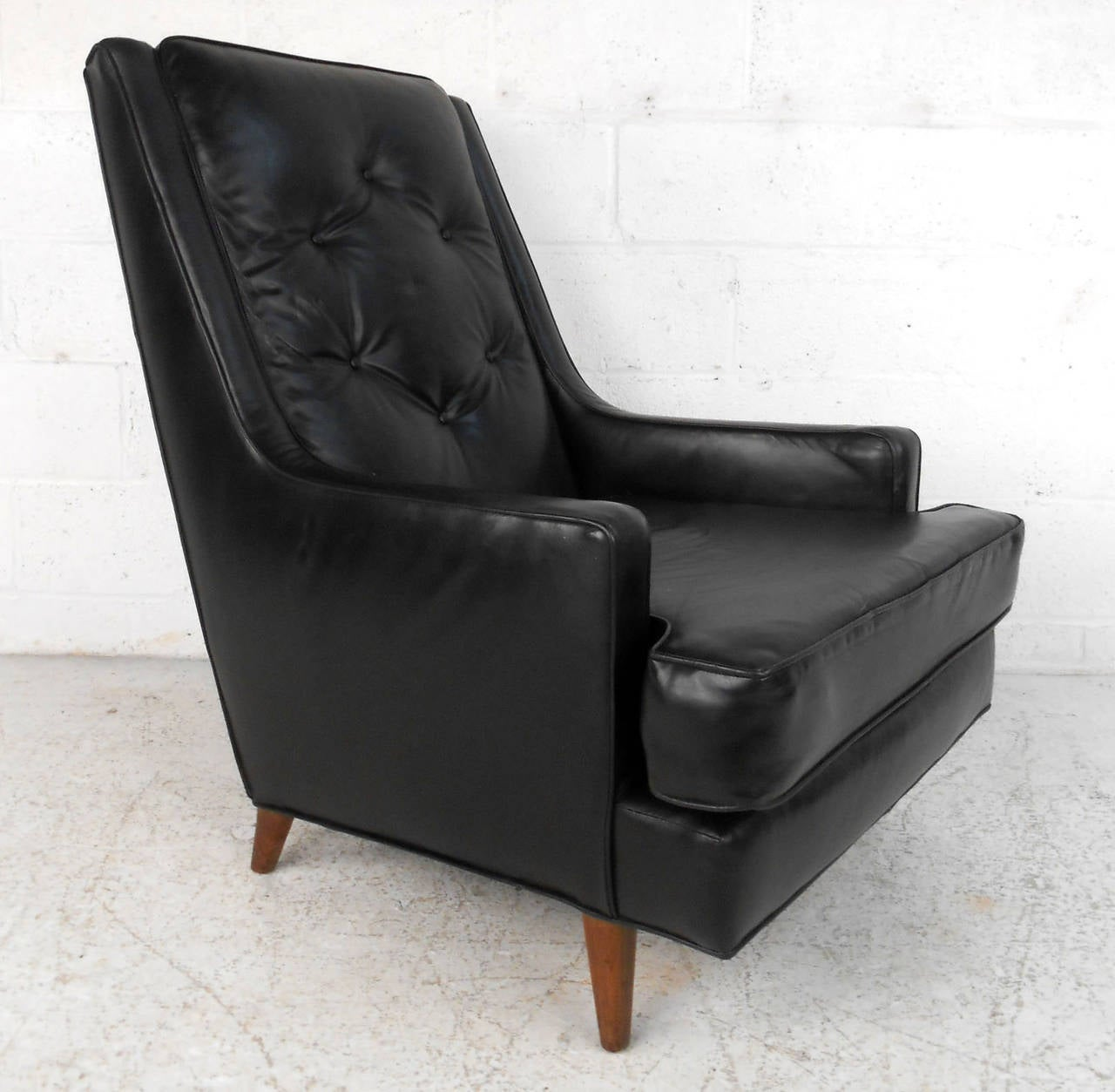 Mid Century Modern Tufted Lounge Chair With Ottoman For Sale at 1stdibs