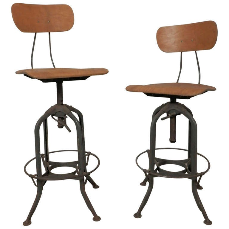 Pair Of Vintage Drafting Stools By Charles Bruning At 1stdibs
