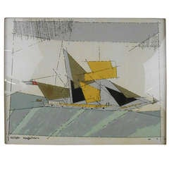 Abstract Sailboat Lithograph