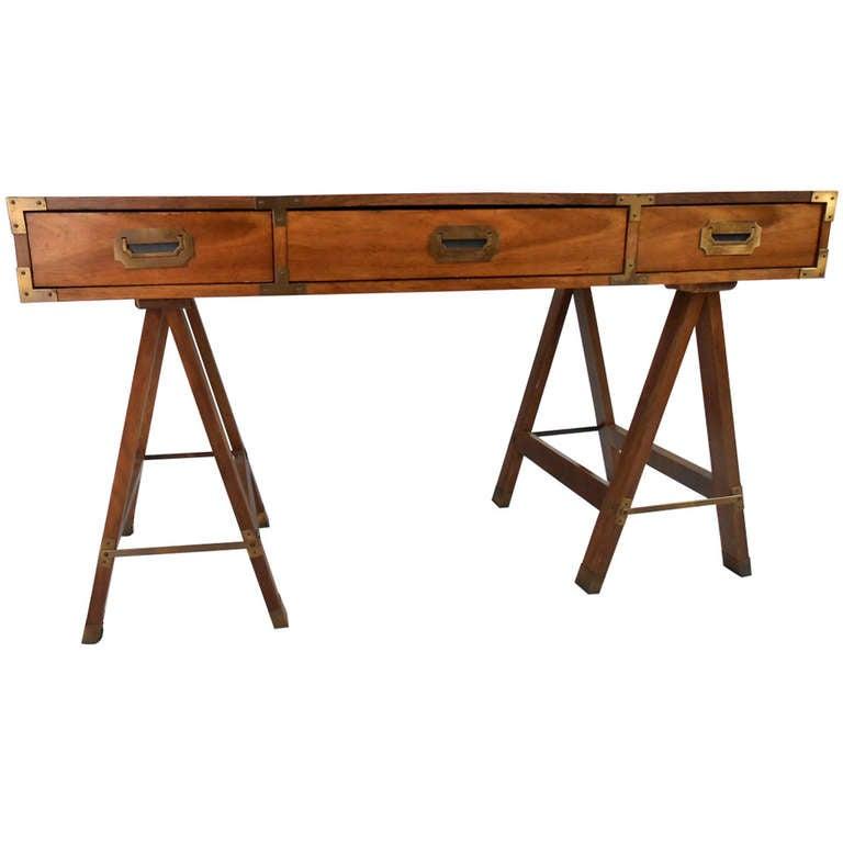 Vintage Campaign Desk by Bernhardt 1 - Vintage Campaign Desk By Bernhardt At 1stdibs