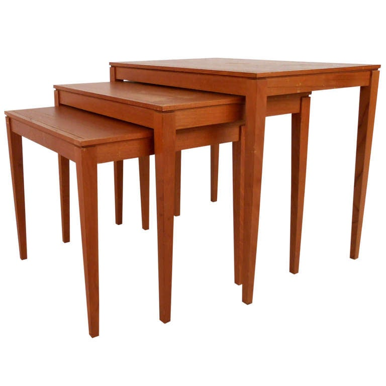 Teak Nesting Tables ~ Set of mid century danish teak nesting tables for sale at