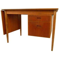 Unique Midcentury Drop-Leaf Teak Desk
