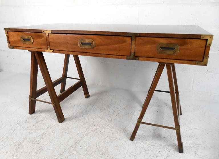 Vintage Campaign Desk By Bernhardt 3