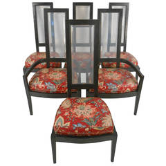 Six Vintage Dining Room Chairs with Lucite Back