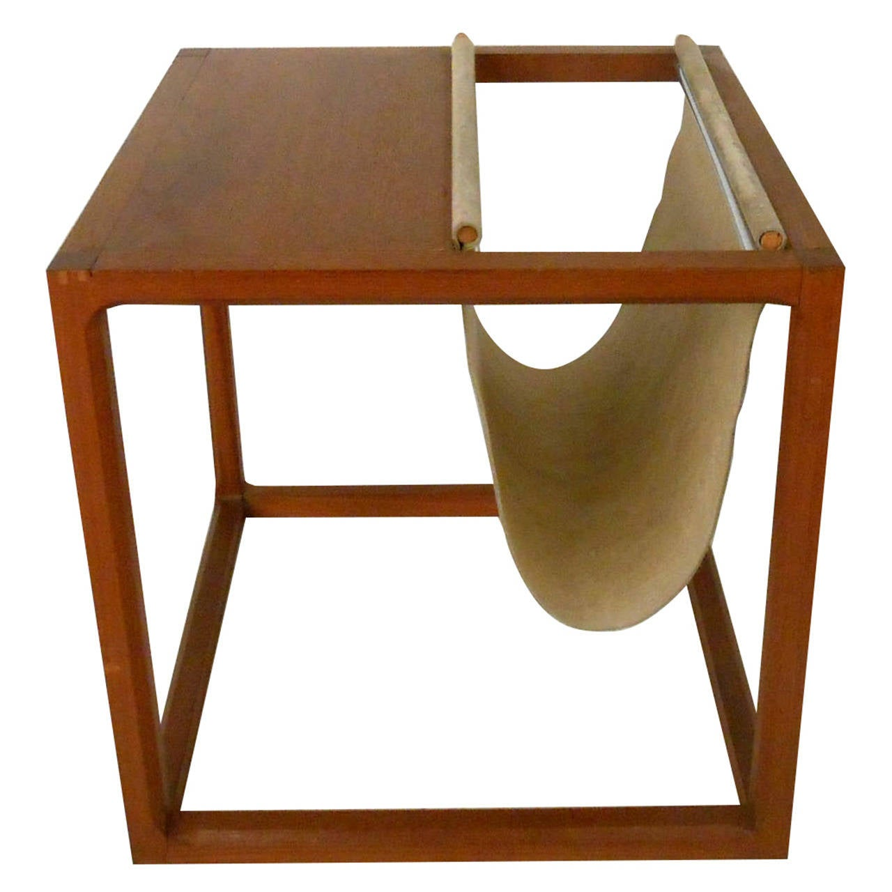 Unique mid century modern teak side table with magazine for Unique side tables