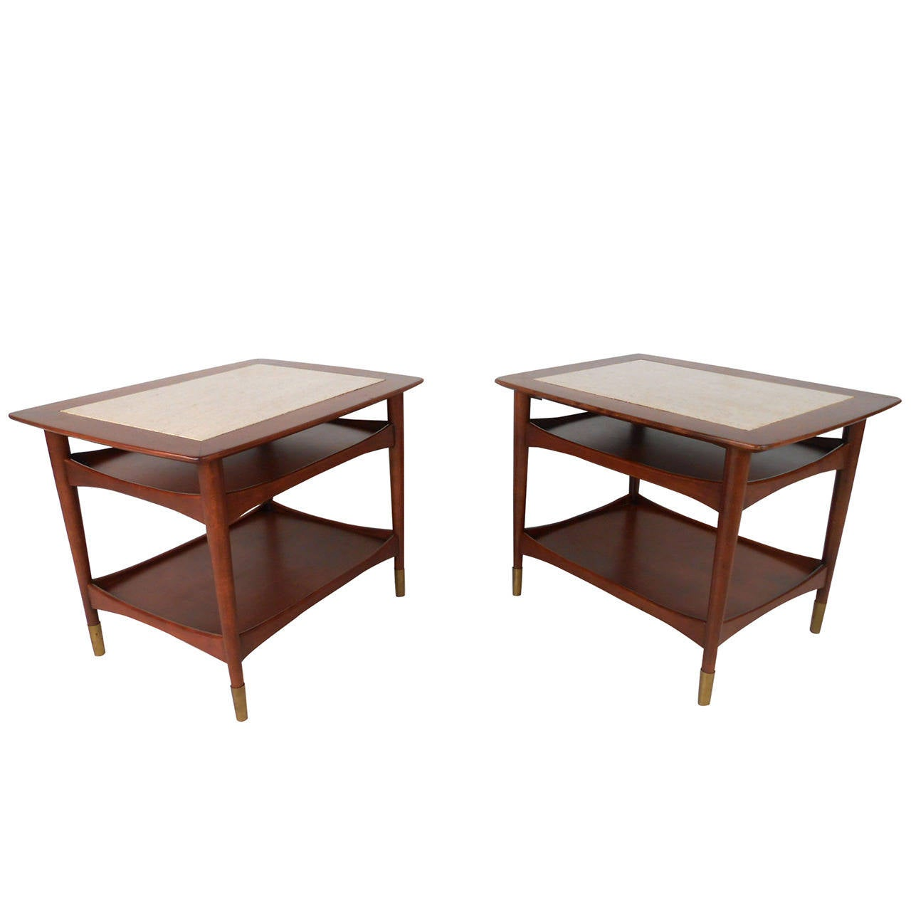 Unique mid century modern walnut and marble side tables for Unusual tables