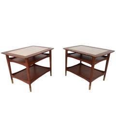Unique Mid-Century Modern Walnut and Marble Side Tables