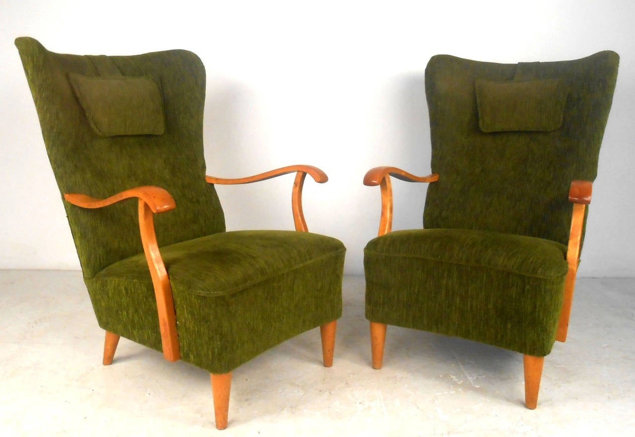 Pair of Unique Mid-Century Modern High Back Lounge Chairs ...