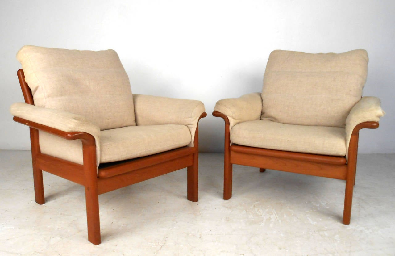 Pair of beautiful mid century modern danish teak armchairs for Mid century modern armchairs