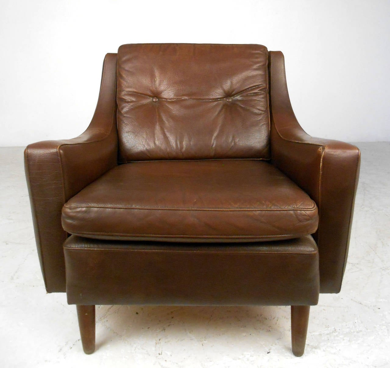 Mid Century Modern Tufted Brown Leather Club Chair 3