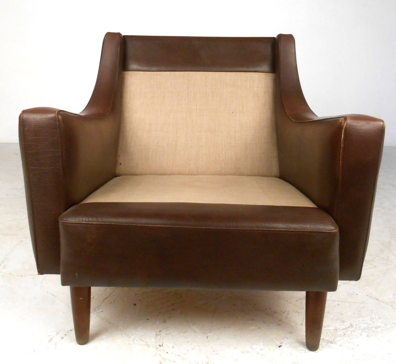 Mid Century Modern Tufted Brown Leather Club Chair at 1stdibs