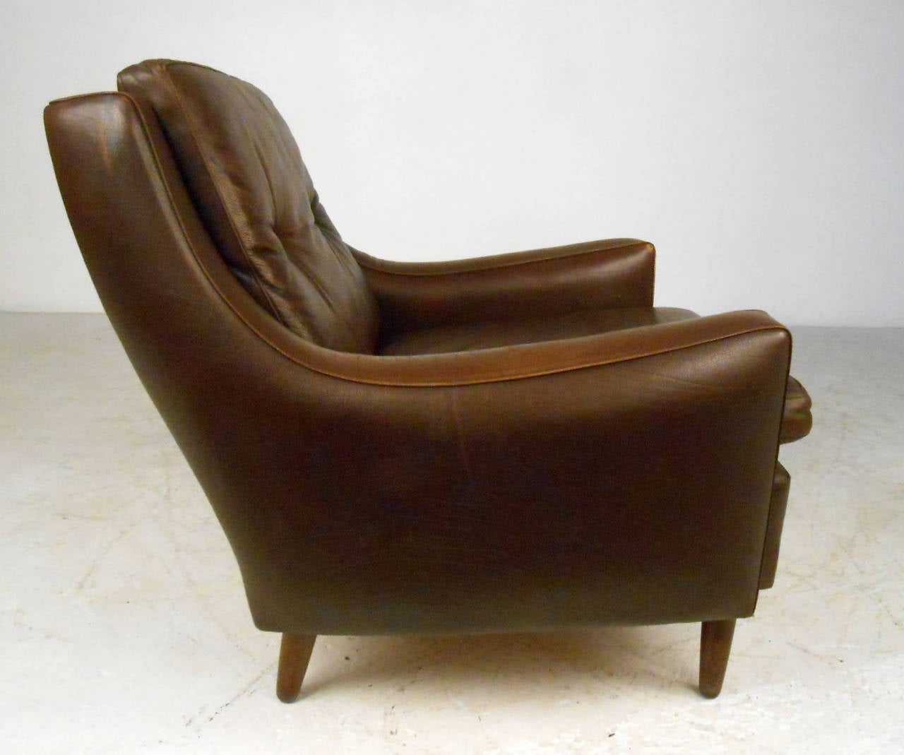 Mid 20th century mid century modern tufted brown leather club chair for sale