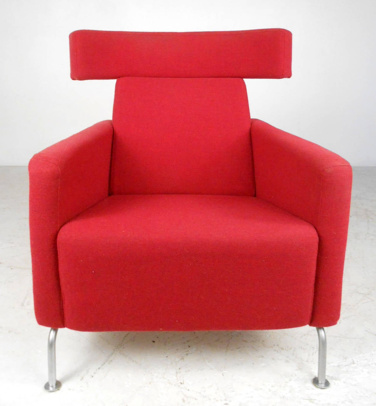 Mid Century Modern Wegner Style Danish Lounge Chair With Ottoman For Sale at
