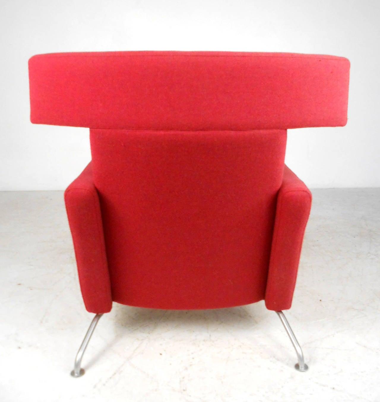 Mid Century Modern Wegner Style Danish Lounge Chair With Ottoman at 1stdibs