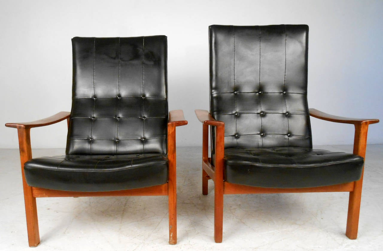 Modern light blue leather swivel lounge chair dove midcentury - Unique Pair Mid Century Modern Br Derna Andersson Teak Recliner Lounge Chairs 2