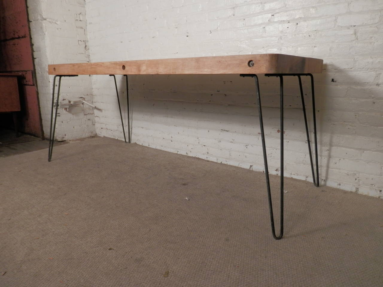 Large Table W Butcher Block Top At 1stdibs