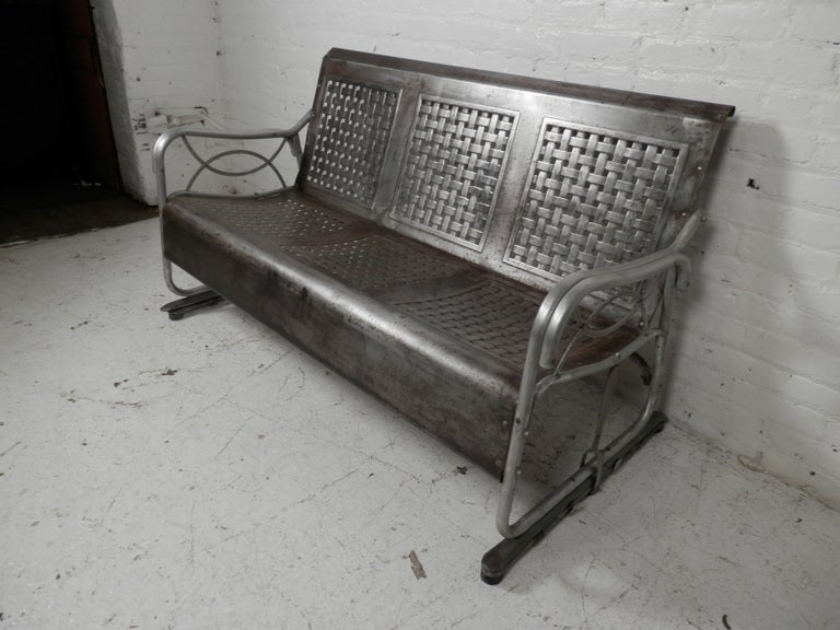 Industrial Metal Glider Bench At 1stdibs
