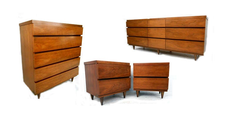 Bassett Furniture Co Mid Century Modern Bedroom Suite For Sale At 1stdibs