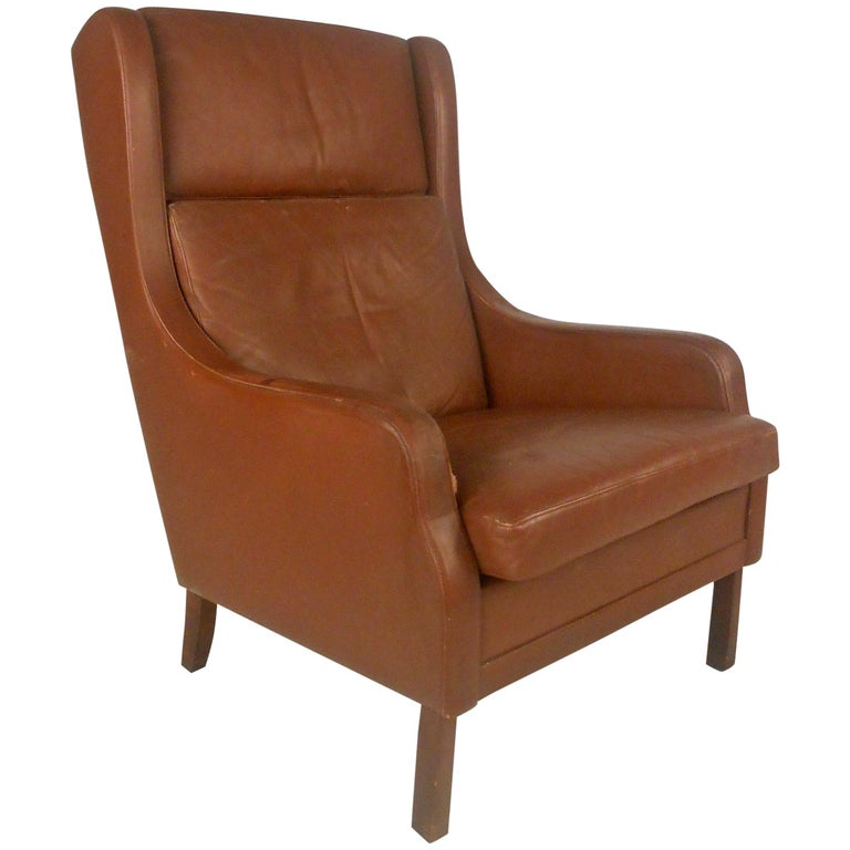 Unique Mid-Century Modern Vintage Leather Danish Lounge Chair For Sale