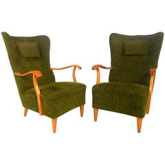 Pair of High Back Lounge Chairs