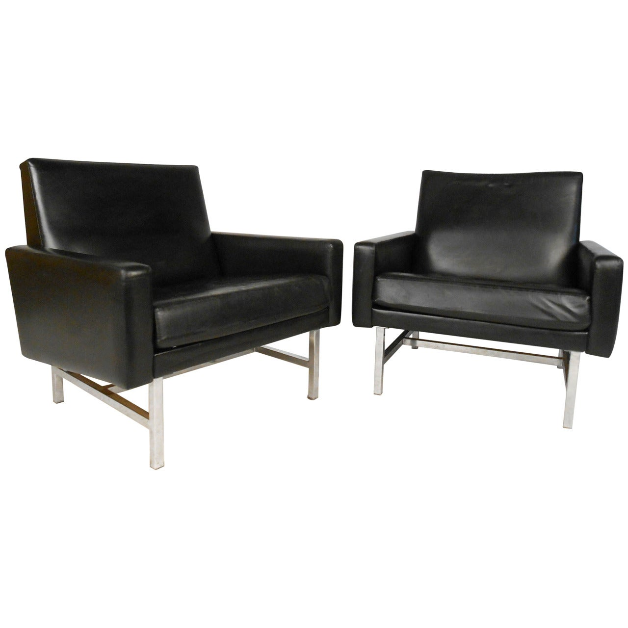 Pair Vintage Leather Lounge Chairs by Thonet