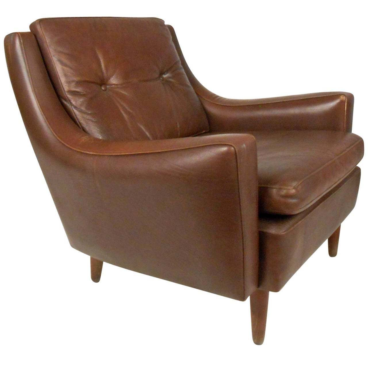 Charming Mid Century Modern Tufted Brown Leather Club Chair For Sale