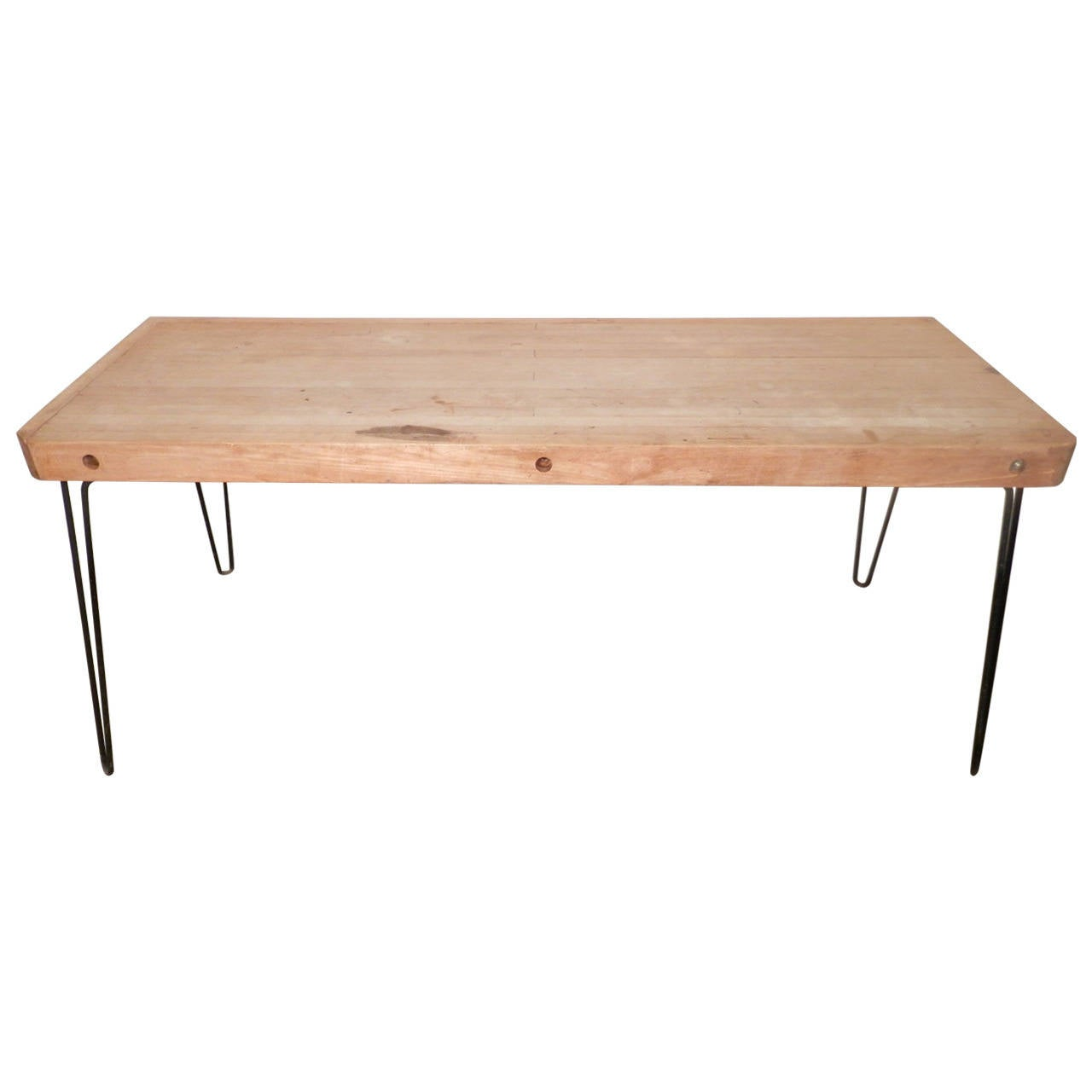 Large table w butcher block top at 1stdibs for The best dining room tables