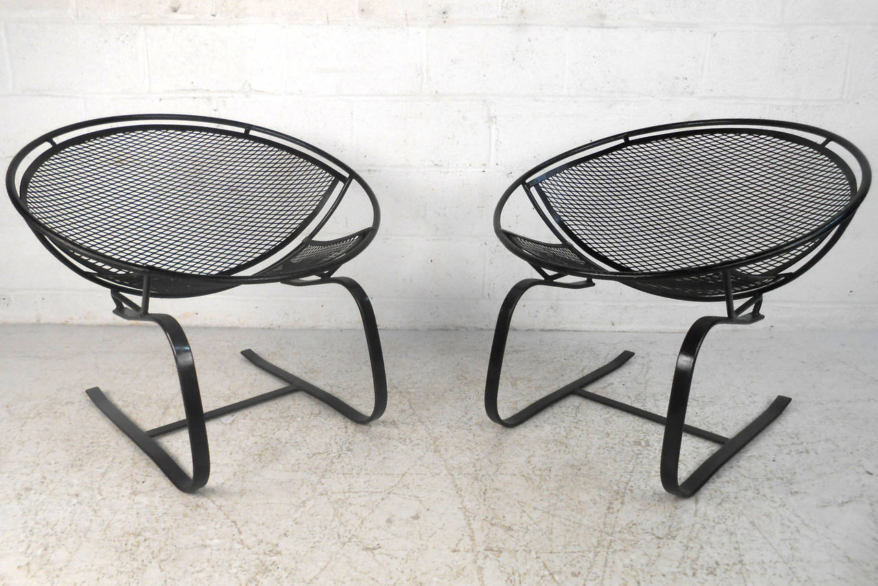 Pair Mid Century Modern Iron Cantilever Patio Chairs By