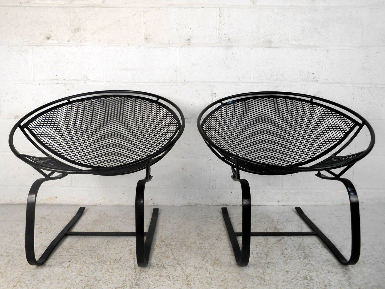 Pair Mid Century Modern Iron Cantilever Patio Chairs by Tempestini for Salter