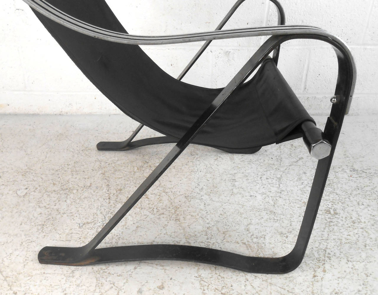 Mid-20th Century Mid-Century Leather Sling Lounge Chair For Sale