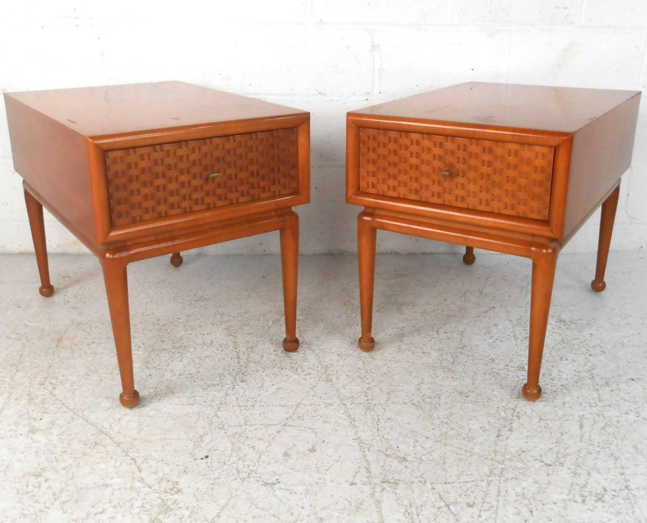 Pair Of Unique Midcentury Basket Weave End Tables For Sale