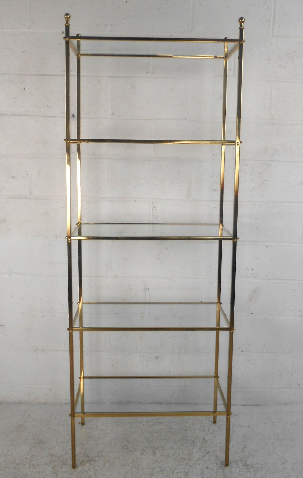mid century modern brass etagere glass shelf display at 1stdibs. Black Bedroom Furniture Sets. Home Design Ideas