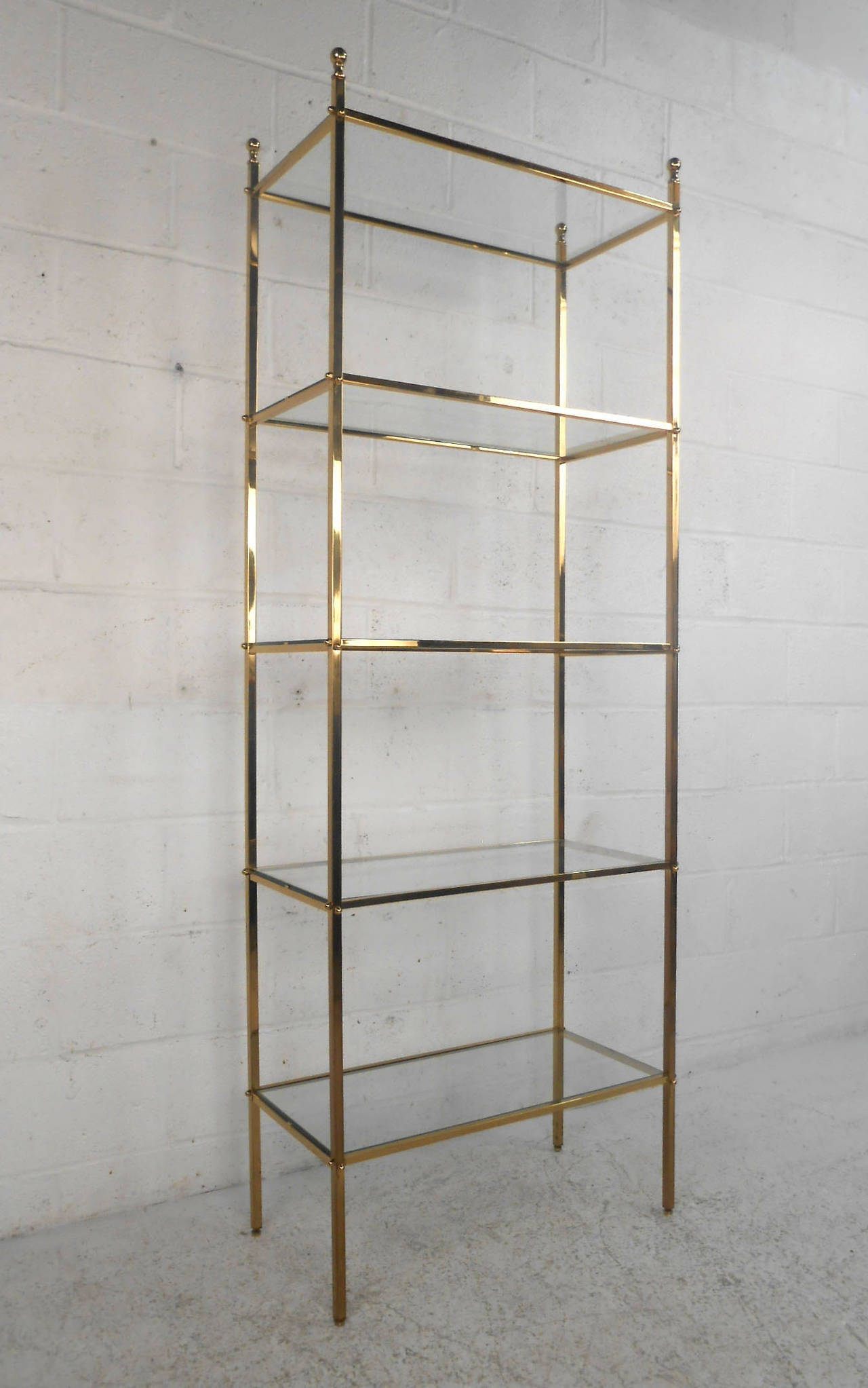 midcentury modern brass etagere glass shelf display at stdibs - midcentury modern brass etagere glass shelf display