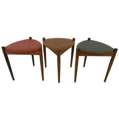 Set of Three Mid-Century Modern Guitar Pick Nesting Tables
