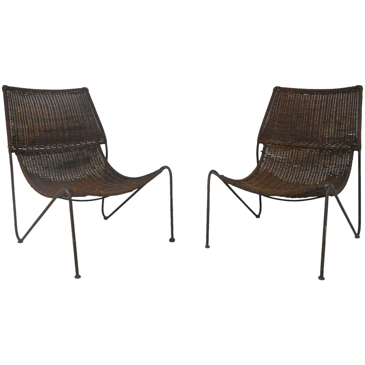 Pair Mid Century Modern Wicker And Iron Frederick Weinberg Sling Scoop  Chairs For Sale At 1stdibs