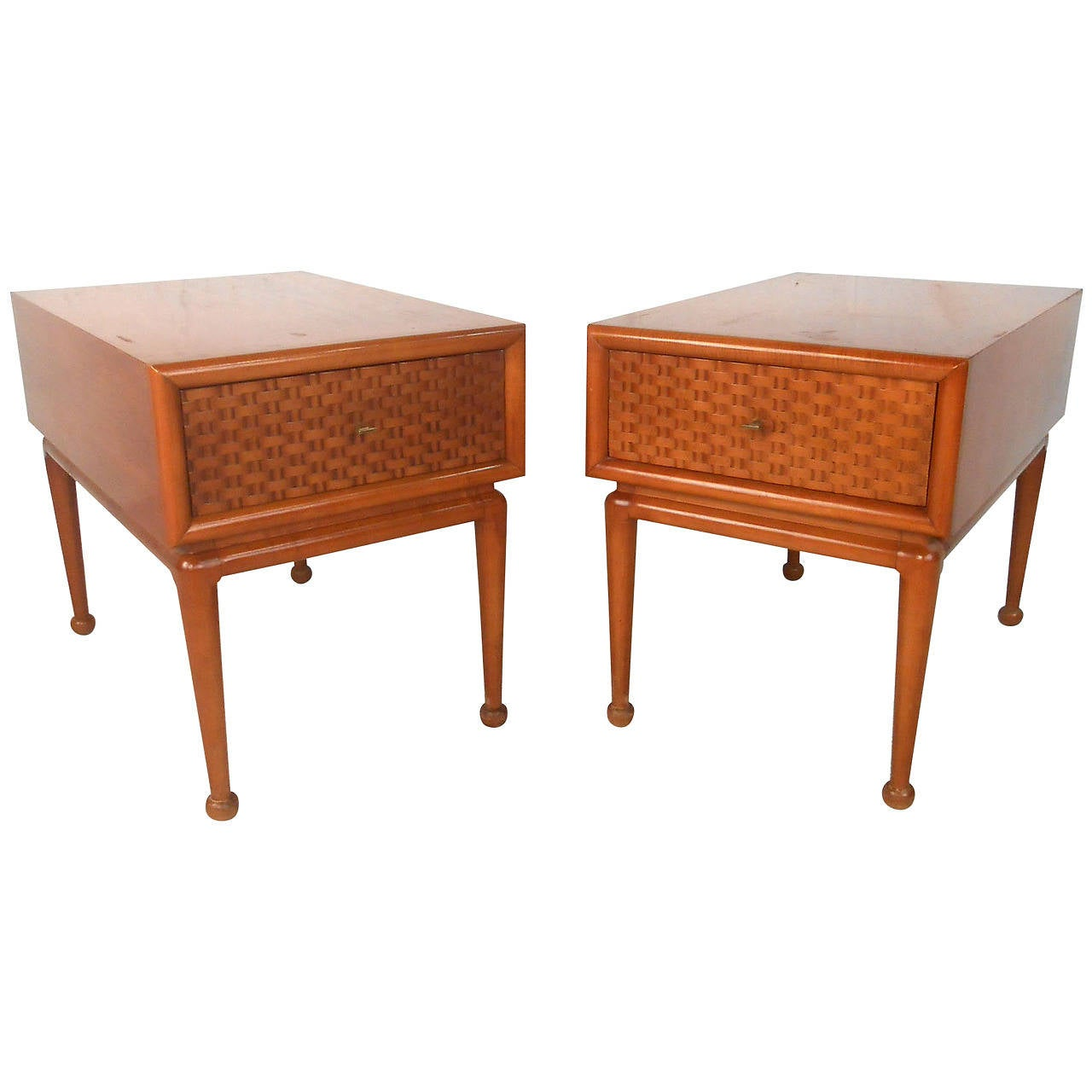 Pair of unique midcentury basket weave end tables for sale for Unusual tables for sale