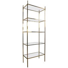 Mid-Century Modern Brass Etagere Glass Shelf Display