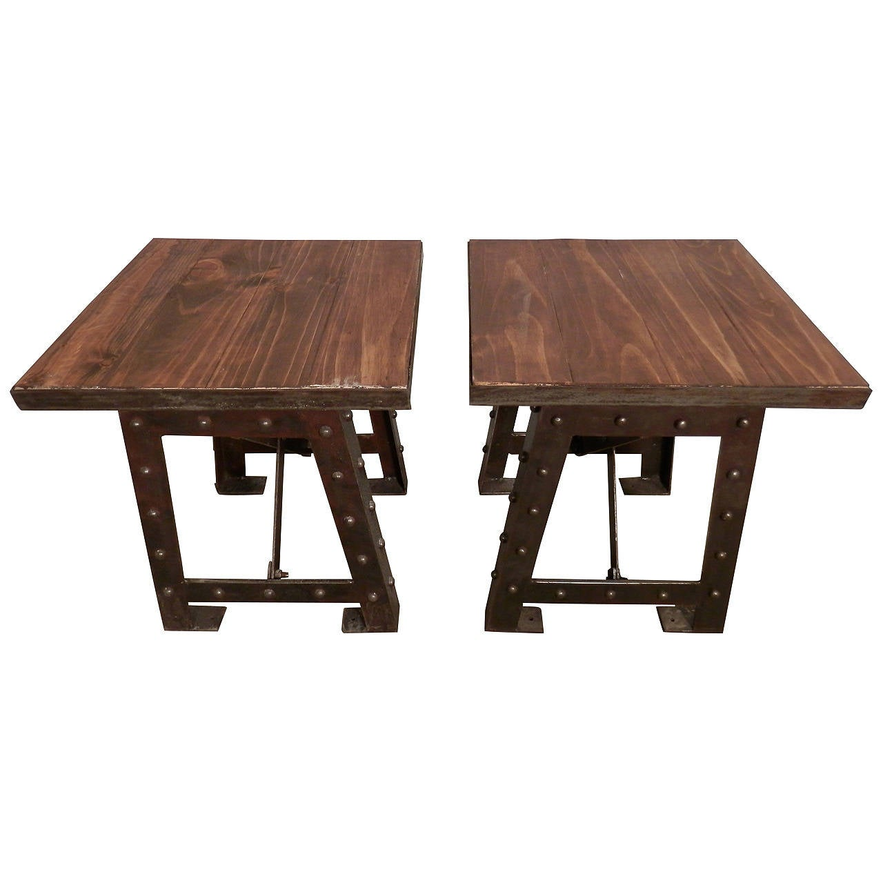 Pair of matching wood top iron base side tables at 1stdibs for Iron and wood side table