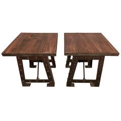 Pair of Matching Wood Top Iron Base Side Tables