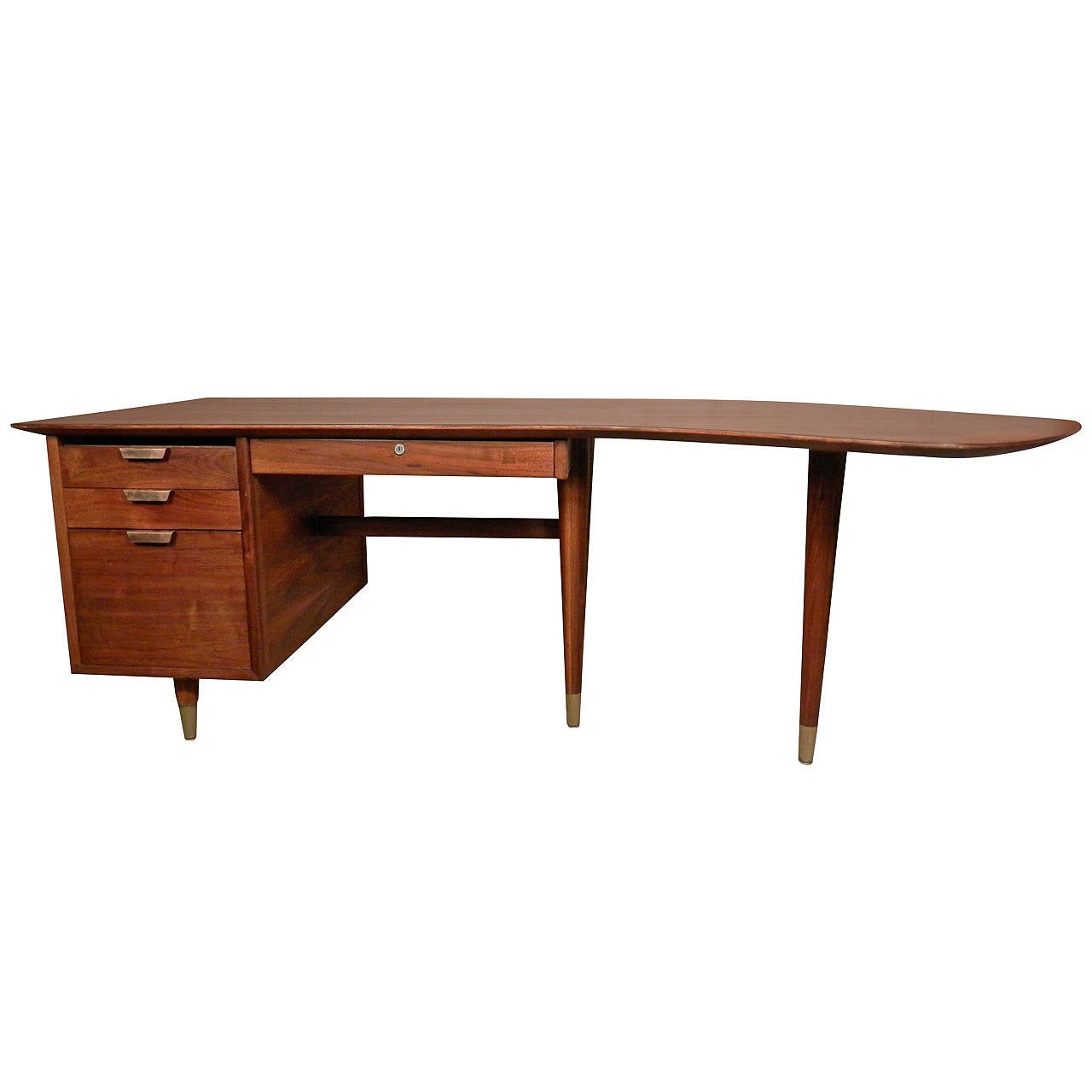 Mid Century Executive Desk By Standard With Exaggerated