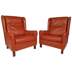 Danish Modern Wingback Leather Chairs
