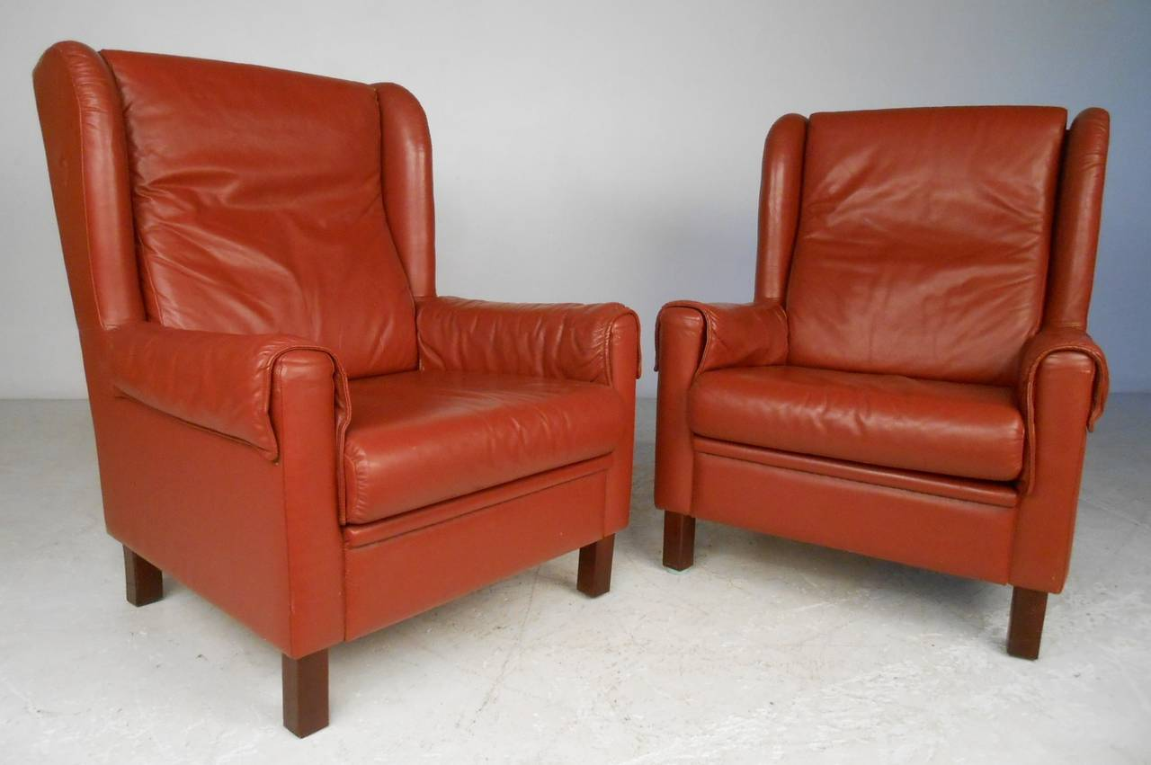 Danish Modern Wingback Leather Chairs For Sale At 1stdibs