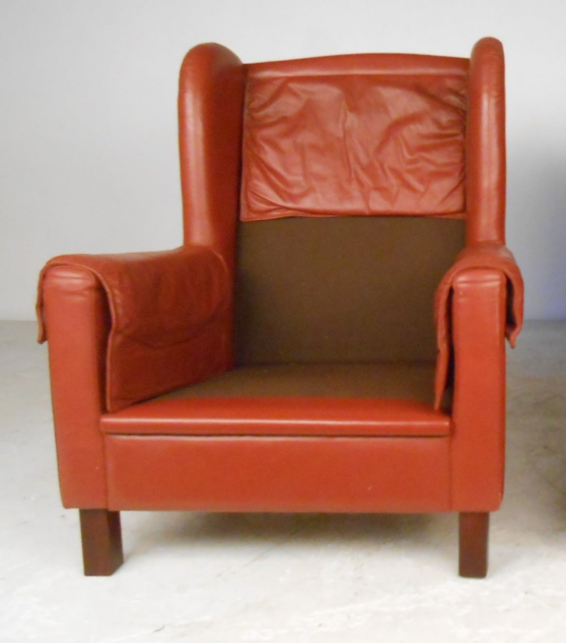 Danish Modern Wingback Leather Chairs For Sale 1